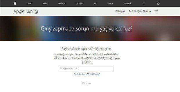 iCloud Şifresini Sıfırlama 1