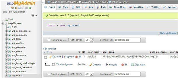 WordPress Admin Şifresi Unuttum 2