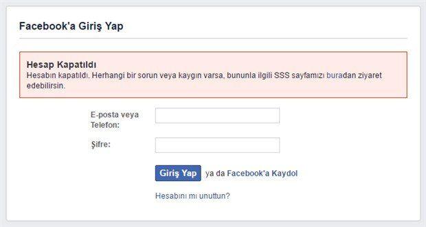 Facebook Hesabım Kapatıldı – Nasıl Açabilirim