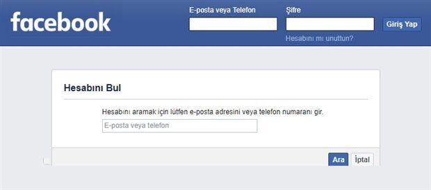 Facebook Şifremi Unuttum - Facebook Şifre Sıfırlama