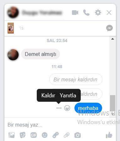 Facebook Messenger'da Gönderilen Mesajı Geri Alma