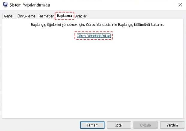 Windows 10'da Başlangıç Programları Kapatma