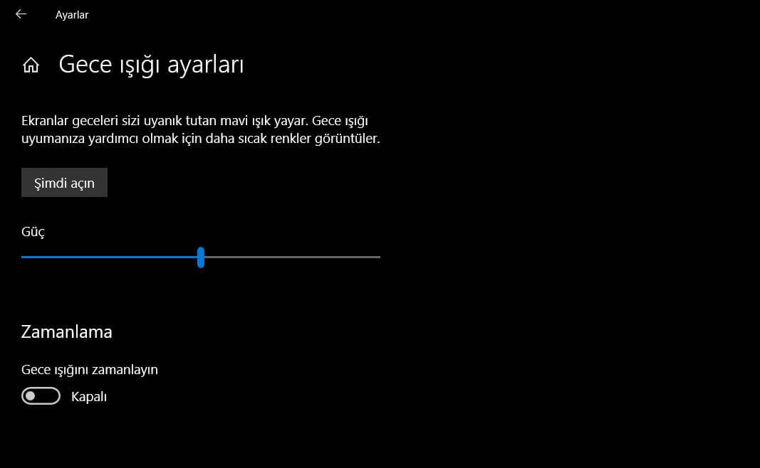 Windows 10 Gece Işığı Nedir? Ayarları Nasıl Yapılır?