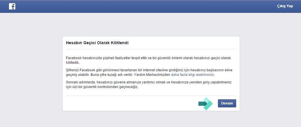 Facebook Hesabınız Geçici Olarak Kilitlendi Sorunu ve Çözümü