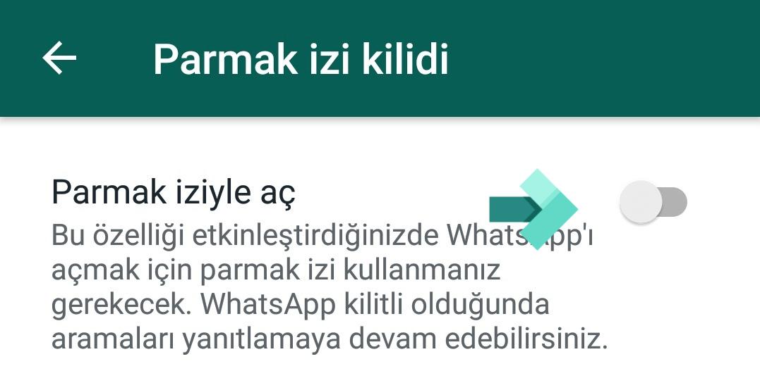 Whatsappa Parmak İzi Koyma