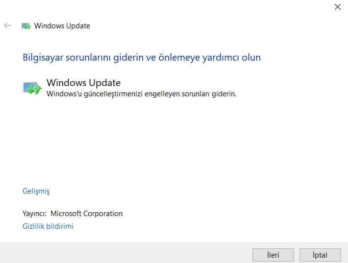 Windows Update Çalışmıyor Sorunu ve Çözümü