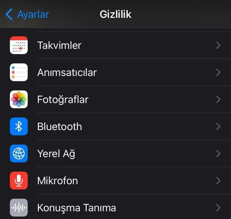 iPhone ve iPad Gizlilik Bölümü