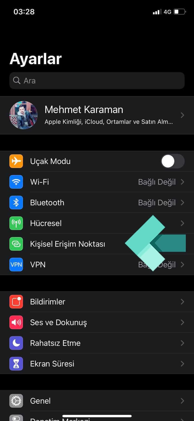 iPhone Ayarlar: Kişisel Erişim Noktası