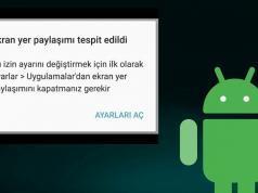 Android Ekran Yer Paylaşımı Kapatma