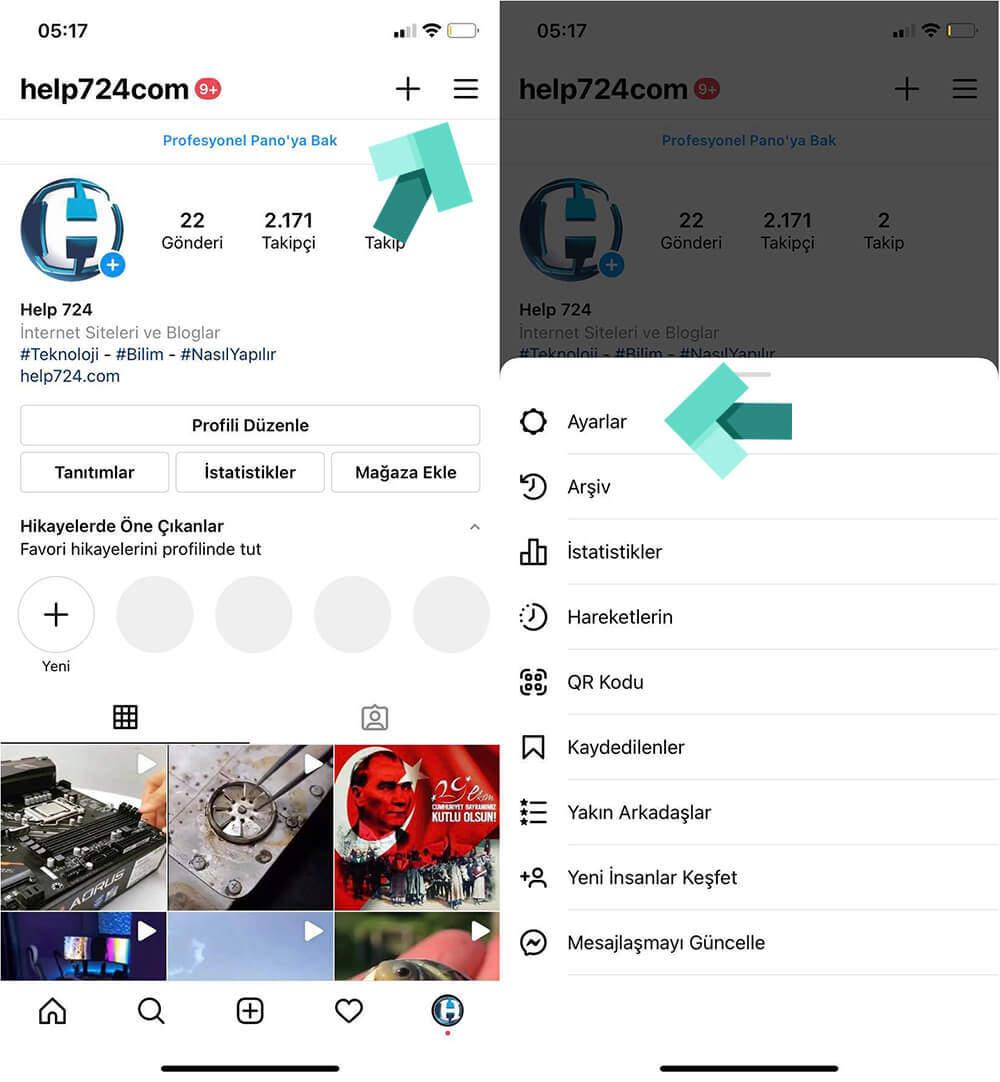 Instagram Ayarlar Ekranına Giriş