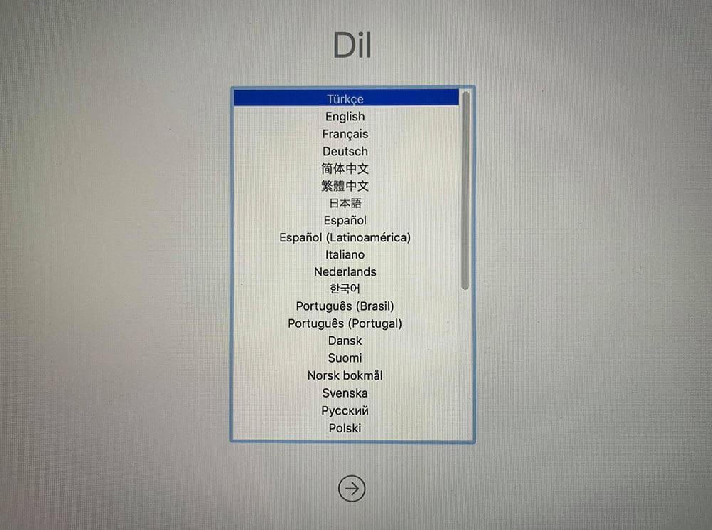 macOS Kurtarma Ekranı Dil Seçimi