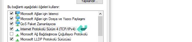 İnternet Protokolü Sürüm 4 (TCP/IPv4)
