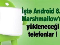 Android 6.0 Marshmallow Güncellemesi Alacak Cihazlar